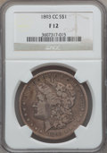 Morgan Dollars: , 1893-CC $1 Fine 12 NGC. NGC Census: (136/2803). PCGS Population (219/5064). Mintage: 677,000. Numismedia Wsl. Price for pro...