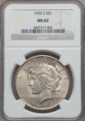 Peace Dollars: , 1935-S $1 MS62 NGC. NGC Census: (391/1991). PCGS Population(552/3267). Mintage: 1,964,000. Numismedia Wsl. Price for probl...