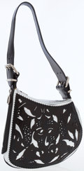 Luxury Accessories:Bags, Fendi Silver & Black Leather Cutout Bag with Silver Hardware....