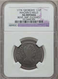 Colonials: , 1774 1/2P Machin's Mills Halfpenny -- Improperly Cleaned, Bent -- NGC Details. AG. NGC Census: (0/5). PCGS Population (0/11...