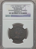 Colonials: , 1774 1/2P Machin's Mills Halfpenny -- Environmental Damage -- NGC Details. VG. NGC Census: (1/4). PCGS Population (0/10). ...