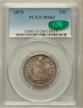 Seated Quarters: , 1875 25C MS63 PCGS. CAC. PCGS Population (48/134). NGC Census:(44/107). Mintage: 4,293,500. Numismedia Wsl. Price for prob...