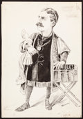 Books:Original Art, W. W. Denslow. Original Ink Caricature Drawing. [N.p., n.d., ca.1895]. From the collection of Zita Books....