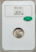 Barber Dimes: , 1912 10C MS63 NGC. CAC. NGC Census: (205/435). PCGS Population(202/428). Mintage: 19,350,000. Numismedia Wsl. Price for pr...