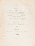 Books:Music & Sheet Music, [Music]. J. N. Hummel. Trois Quatuors... Oeuvre XXX. Venice,[n.d., ca. 1775]. Four folio volumes. From the collec...