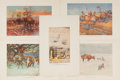 "Books:Prints & Leaves, Charles M. Russell, artist. Lot of Five Lithograph Illustrations by Noted Artist Charles M. Russell. 6"" x 9"", landscape and ..."