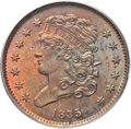 Half Cents, 1835 1/2 C MS65 Red and Brown PCGS. C-1, B-1, R.1....