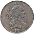 Half Cents, 1806 1/2 C Large 6, Stems MS62 Red and Brown PCGS. C-4, B-4, R.1. ...