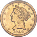 Liberty Half Eagles, 1842-C $5 Large Date AU53 PCGS. Variety 1....