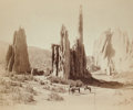 Photographs:19th Century, WILLIAM HENRY JACKSON (American, 1843-1942). Cathedral Spires,Garden of the Gods. Vintage mammoth plate albumen. 17-1/4...
