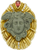 Estate Jewelry:Brooches - Pins, Judith Ripka Lava Cameo, Tourmaline, Diamond, Gold Brooch. ...