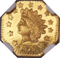 California Fractional Gold, 1875 $1 Indian Octagonal 1 Dollar, BG-1126, R.5, MS64 DeepProoflike NGC....
