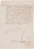 Autographs:Non-American, Charles IX, King of France, Document Signed,... (Total: 2 Items)