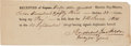 Autographs:U.S. Presidents, [War of 1812]. Andrew Jackson Pay Receipt Signed....