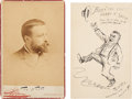 Autographs:Artists, Cartoonist Thomas Nast Photograph and Original Ink DrawingSigned...