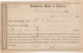 Miscellaneous:Ephemera, [Confederate States]. Receipt for Interest Bearing Bond....
