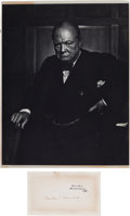 Autographs:Non-American, Winston Churchill Signed Card. ...
