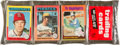Baseball Cards:Unopened Packs/Display Boxes, 1975 Topps Baseball Rack Pack with Hank Aaron RB on Front, Downingon Back. ...