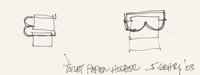 FRANK GEHRY (Canadian/American, b. 1929) Toilet Paper Holder, 2003 Ink on paper Sight: 2-3/4 x 7-