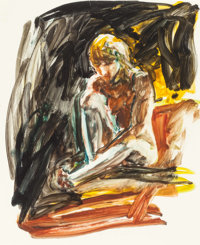 ERIC FISCHL (American, b. 1948) Untitled, 1985 Oil on paper 20 x 16-3/8 inches (50.8 x 41.6 cm)