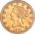 Liberty Eagles, 1861-S $10 XF40 PCGS. CAC....