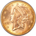 Liberty Double Eagles, 1857-S $20 Bold S MS64 PCGS. CAC. Variety 20B....