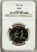 Proof Franklin Half Dollars: , 1955 50C PR67 NGC. NGC Census: (2761/1722). PCGS Population(1364/201). Mintage: 378,200. Numismedia Wsl. Price for problem...