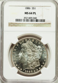 Morgan Dollars: , 1886 $1 MS64 Prooflike NGC. NGC Census: (296/126). PCGS Population(270/119). Numismedia Wsl. Price for problem free NGC/P...