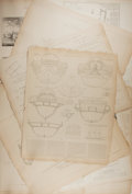 """Books:Prints & Leaves, [Nautical Illustration] Nine Illustrations Regarding Boats and BoatBuilding in the 17th and 18th Century. 17.25"""" x 21.75"""". ..."""