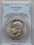 Eisenhower Dollars, 1972 $1 Type One MS65 PCGS. PCGS Population (317/4). Numismedia Wsl. Price for problem free NGC/PCGS co...