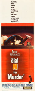 """Movie Posters:Hitchcock, Dial M for Murder (Warner Brothers, 1954). Insert (14"""" X 36"""").. ..."""