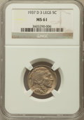 Buffalo Nickels: , 1937-D 5C Three-Legged MS61 NGC. NGC Census: (432/1199). PCGSPopulation (31/823). Mintage: 17,826,000. Numismedia Wsl. Pri...