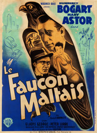 "The Maltese Falcon (Warner Brothers, late 1940s). First Post-War Release French Grande (45"" X 61"")"
