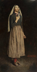 Paintings, NORMAN ROCKWELL (American, 1894-1978). The Song of Bernadette, 1944. Oil on canvas. 53 x 28 in.. Signed lower right. ... (Total: 2 Items)