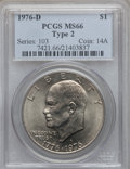 Eisenhower Dollars: , 1976-D $1 Type Two MS66 PCGS. PCGS Population (813/23). NGC Census: (450/12). Mintage: 82,179,568. Numismedia Wsl. Price fo...