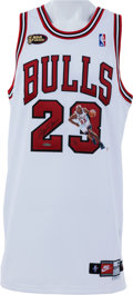 """Basketball Collectibles:Uniforms, 1998 Michael Jordan Signed """"Driving In The Lane"""" Painted Upper DeckAuthenticated Jersey - Numbered to 1/6...."""