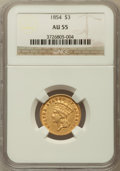Three Dollar Gold Pieces: , 1854 $3 AU55 NGC. NGC Census: (760/2067). PCGS Population(684/1091). Mintage: 138,618. Numismedia Wsl. Price for problemf...