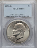 Eisenhower Dollars: , 1971-D $1 MS66 PCGS. PCGS Population (881/16). NGC Census: (591/42). Mintage: 68,587,424. Numismedia Wsl. Price for problem...