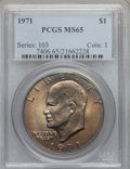 Eisenhower Dollars: , 1971 $1 MS65 PCGS. PCGS Population (738/43). NGC Census: (605/34). Mintage: 47,799,000. Numismedia Wsl. Price for problem f...