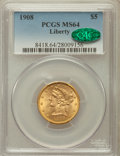 Liberty Half Eagles, 1908 $5 Liberty MS64 PCGS. CAC. PCGS Population (891/235). NGCCensus: (944/319). Mintage: 421,874. Numismedia Wsl. Price f...