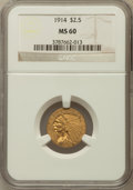 Indian Quarter Eagles: , 1914 $2 1/2 MS60 NGC. NGC Census: (160/5512). PCGS Population(44/2357). Mintage: 240,000. Numismedia Wsl. Price for proble...
