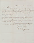 "Autographs:U.S. Presidents, [Mount Vernon Slavery]. Autograph Letter Signed and Addressed to""John A. Washington Esq. / Mount Vernon..."