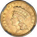 Three Dollar Gold Pieces, 1854-O $3 XF45 NGC. Variety 2....