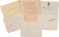 Autographs:Celebrities, [Hollywood]. Group of Five Individually Signed Autograph Pages ...(Total: 6 Items)