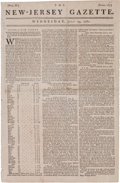 Miscellaneous:Newspaper, [Revolutionary War]. Newspaper: The New- JerseyGazette....