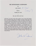 Autographs:Authors, John le Carré Typescript Signed....