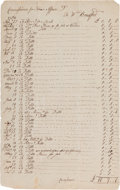 Autographs:Statesmen, [Indian Affairs]. William Bradford Accounting Ledger Sheet....