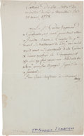 Autographs:Non-American, Charles Hector, Comte d'Estaing, Letter Signed....
