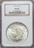 Peace Dollars: , 1922-S $1 MS64 NGC. NGC Census: (1777/280). PCGS Population(1839/308). Mintage: 17,475,000. Numismedia Wsl. Price for prob...