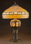 Lighting:Lamps, IMPORTANT TIFFANY STUDIOS LEADED GLASS AND BRONZE GOLDEN TURTLEBACK TILE LAMP. Circa 1910, Shade stamped to rim:... (Total: 2 Items)